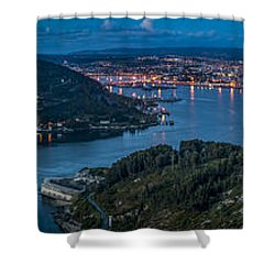 Shower Curtain featuring the photograph Ferrol's Estuary Panorama From La Bailadora Galicia Spain by Pablo Avanzini