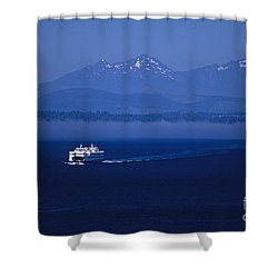 Ferry Boat In Puget Sound With Olympic Mountains Shower Curtain