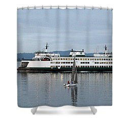 Ferry Issaquah And Sailboats Shower Curtain by E Faithe Lester