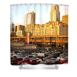 Ferry Lines At Sunset Shower Curtain