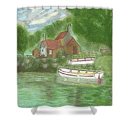 Shower Curtain featuring the painting Ferryman's Cottage by Tracey Williams