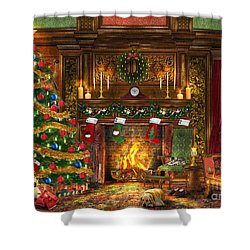 Festive Fireplace Shower Curtain by Dominic Davison