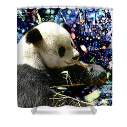 Festive Panda Shower Curtain by Mariola Bitner
