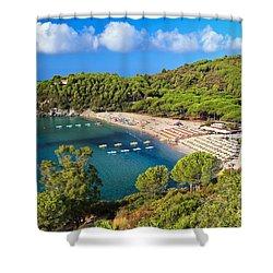 Fetovaia Beach - Elba Island Shower Curtain