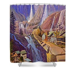 Shower Curtain featuring the painting Fibonacci Stairs by Art James West