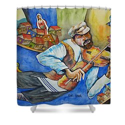 Fiddler On The Roofs Shower Curtain by Guri Stark