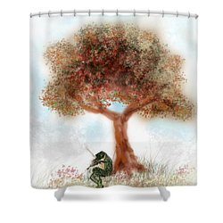 Fiddling Frog Shower Curtain