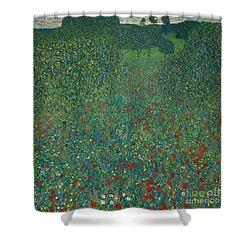 Field Of Poppies Shower Curtain by Gustav Klimt