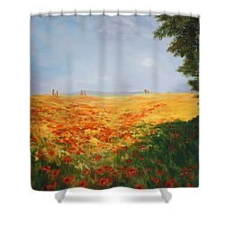 Field Of Poppies Shower Curtain by Jean Walker