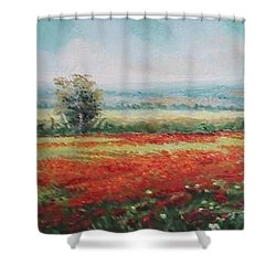 Field Of Poppies Shower Curtain by Sorin Apostolescu