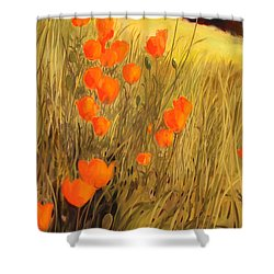 Field Of Poppies Shower Curtain by Sue  Darius