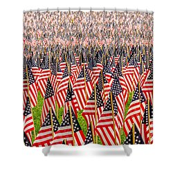 Field Of Us Flags Shower Curtain by Mike Ste Marie