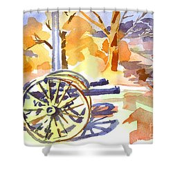 Field Rifles In Watercolor Shower Curtain by Kip DeVore