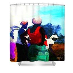 Shower Curtain featuring the painting Field Women by Vannetta Ferguson