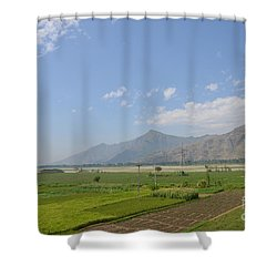 Shower Curtain featuring the photograph Fields Mountains Sky And A River Swat Valley Pakistan by Imran Ahmed