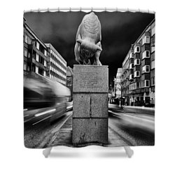 Bull Statue Shower Curtain by Mike Santis