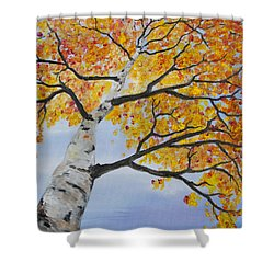 Shower Curtain featuring the painting Fiery Aspen by Melinda Cummings