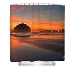 Fiery Bandon Beach Shower Curtain by Adam Jewell