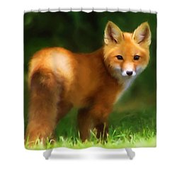 Shower Curtain featuring the mixed media Fiery Fox by Christina Rollo