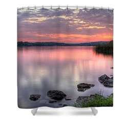 Fiery Lake Sunset Shower Curtain
