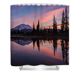 Fiery Rainier Sunset Shower Curtain