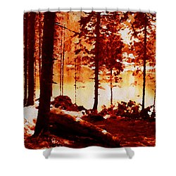 Fiery Red Landscape Shower Curtain