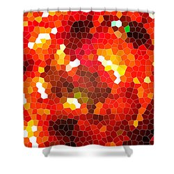 Fiery Red Stained Glass Shower Curtain by Gaspar Avila