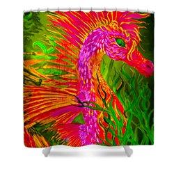 Fiery Sea Horse Shower Curtain by Adria Trail