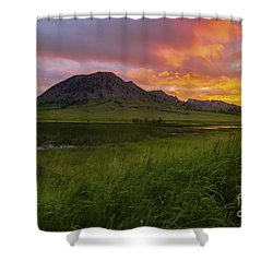 Fiery Sky Over Bear Butte Shower Curtain