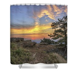Fiery Sunrise From Atop Mt. Nebo - Arkansas Shower Curtain