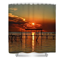 Shower Curtain featuring the photograph Fiery Sunset Colors Over Santa Rosa Sound by Jeff at JSJ Photography