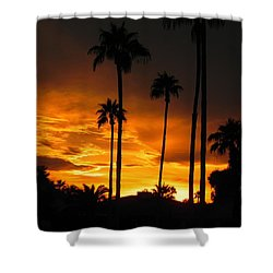 Shower Curtain featuring the photograph Fiery Sunset by Deb Halloran