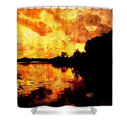 Fiery Sunset Shower Curtain by Randi Kuhne