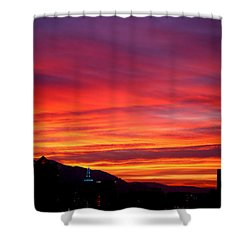 Fiery Sunset Shower Curtain by Rona Black