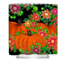 Fiesta Pumpkins Shower Curtain by Christine Fournier