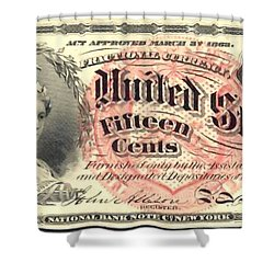 Fifteen Cents 4th Issue U.s. Fractional Currency Shower Curtain by Lanjee Chee