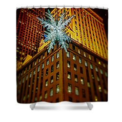 Shower Curtain featuring the photograph Fifth Avenue Holiday Star by Chris Lord
