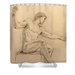 Figure On A Rock Shower Curtain by Sarah Parks