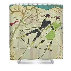 Figure Skating  Christmas Card Shower Curtain by American School