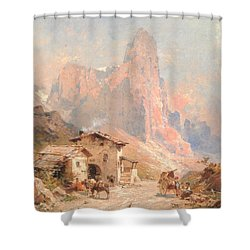 Figures In A Village In The Dolomites Shower Curtain by Franz Richard Unterberger
