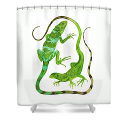 Fijian Iguanas Shower Curtain by Cindy Hitchcock