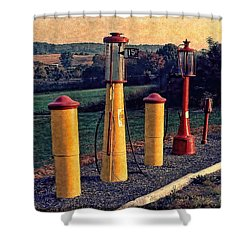 Fill 'er Up Vintage Fuel Gas Pumps Shower Curtain