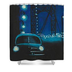 Film Noir In Blue #1 Shower Curtain