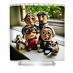 Fimo Family Shower Curtain by Natasha Marco