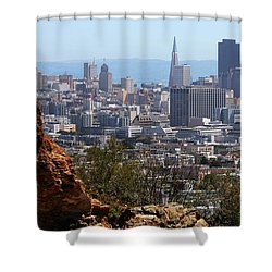 Financial District From Corona Heights Shower Curtain by Robert Woodward