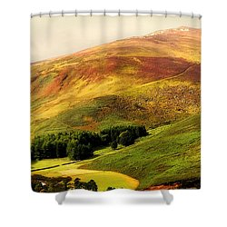 Find The Soul. Golden Hills Of Wicklow. Ireland Shower Curtain by Jenny Rainbow