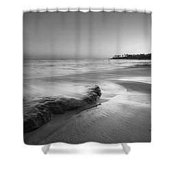 Finding Serenity Bw Shower Curtain by Michael Ver Sprill