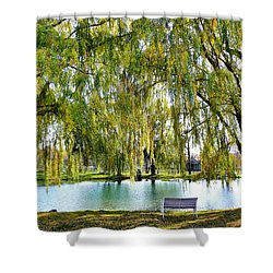 Finger Lakes Weeping Willows Shower Curtain by Mitchell R Grosky