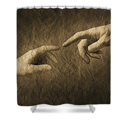Fingers Almost Touching Shower Curtain by Don Hammond