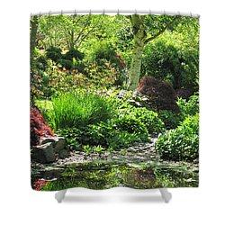 Finnerty Gardens Pond Shower Curtain by Marilyn Wilson